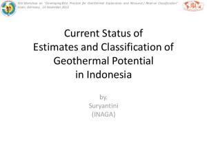Current Status of Estimates and Classification of Geothermal Potential in Indonesia