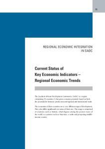 Current Status of Key Economic Indicators Regional Economic Trends