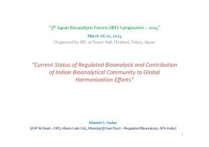 Current Status of Regulated Bioanalysis and Contribution of Indian Bioanalytical Community to Global Harmonization Efforts
