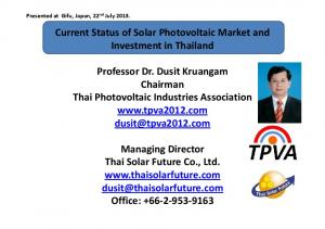 Current Status of Solar Photovoltaic Market and Investment in Thailand