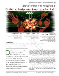 Current Treatments in the Management of Diabetic Peripheral Neuropathic Pain 2009