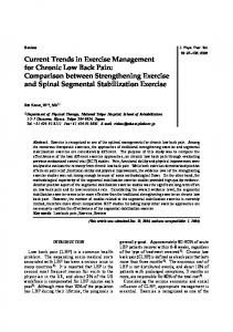 Current Trends in Exercise Management for Chronic Low Back Pain: Comparison between Strengthening Exercise and Spinal Segmental Stabilization Exercise