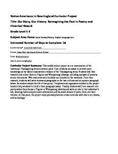 Curricular Project Summary: This middle school project is a re-examination of the