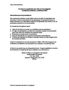 Currículo de capacitación sobre ética de la investigación. Cuestionario preliminar y cuestionario final