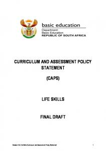 CURRICULUM AND ASSESSMENT POLICY STATEMENT (CAPS) LIFE SKILLS FINAL DRAFT