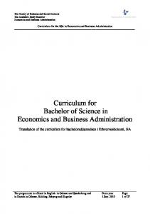 Curriculum for Bachelor of Science in Economics and Business Administration