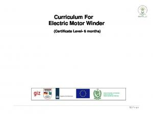 Curriculum For Electric Motor Winder (Certificate Level- 6 months)