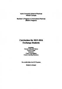 Curriculum for Exchange Students
