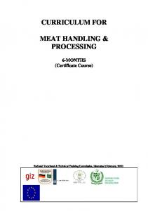 CURRICULUM FOR MEAT HANDLING & PROCESSING