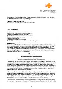 Curriculum for the Bachelor Programme in Digital Media and Design at the IT University of Copenhagen
