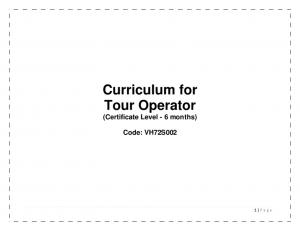 Curriculum for Tour Operator (Certificate Level - 6 months) Code: VH72S002