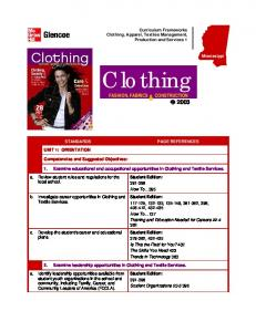 Curriculum Frameworks Clothing, Apparel, Textiles Management, Production and Services 1. Clothing &