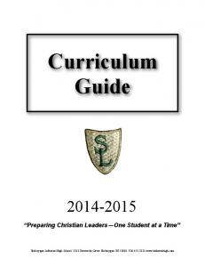 Curriculum Guide Preparing Christian Leaders One Student at a Time