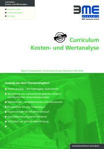 Curriculum Kosten- und Wertanalyse