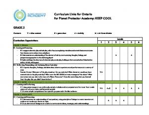 Curriculum Links for Ontario for Planet Protector Academy: KEEP COOL