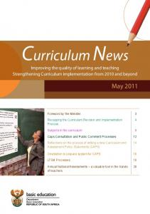 Curriculum News Improving the quality of learning and teaching Strengthening Curriculum implementation from 2010 and beyond