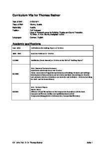 Curriculum Vita for Thomas Bednar