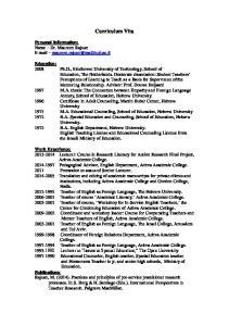 Curriculum Vita. Personal Information: Name Dr. Maureen Rajuan