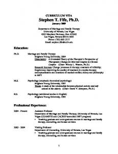 CURRICULUM VITA Stephen T. Fife, Ph.D. January 2009