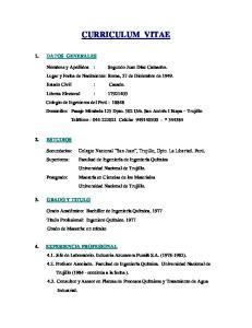 CURRICULUM VITAE 1. DATOS GENERALES