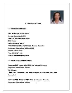 CURRICULUM VITAE 1. PERSONAL INFORMATION