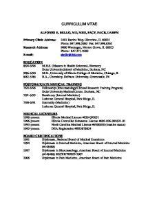 CURRICULUM VITAE ALFONSO E. BELLO, MD, MHS, FACP, FACR, DABPM