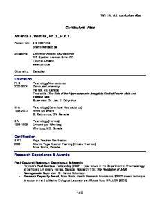 Curriculum Vitae. Amanda J. Wintink, Ph.D., R.Y.T