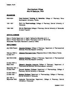 Curriculum Vitae Ana M Castejon, PhD