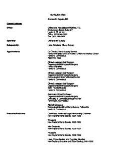 Curriculum Vitae. Andrew E. Caputo, MD