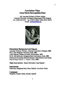 Curriculum Vitae: Anna-Maria Ravnopolska-Dean