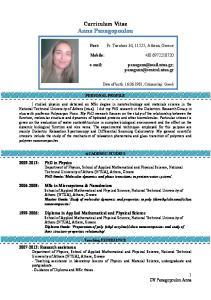 Curriculum Vitae Anna Panagopoulou