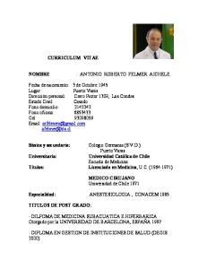 CURRICULUM VITAE : ANTONIO ROBERTO FELMER AICHELE