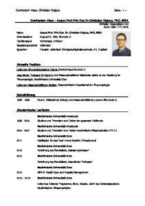 Curriculum vitae Assoz.Prof.Priv.Doz.Dr.Christian Dejaco, PhD, MBA
