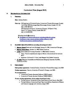 Curriculum Vitae (August 2015)