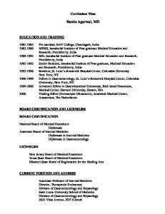 Curriculum Vitae. Banke Agarwal, MD