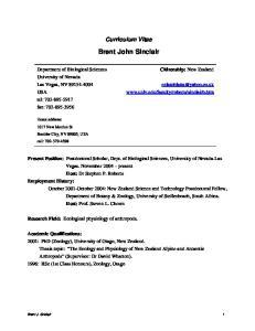 Curriculum Vitae. Brent John Sinclair