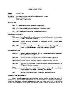 CURRICULUM VITAE. Cooperative Institute for Research in the Atmosphere (CIRA) Colorado State University Fort Collins, CO
