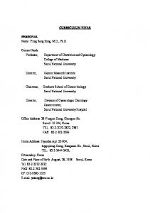 CURRICULUM VITAE. Current Rank: Department of Obstetrics and Gynecology College of Medicine Seoul National University