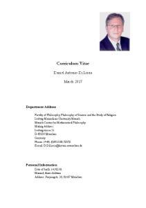 Curriculum Vitae. Daniel Antonio Di Liscia. March Department Address