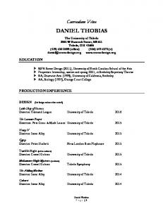 Curriculum Vitae DANIEL THOBIAS