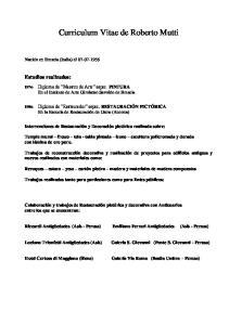 Curriculum Vitae de Roberto Mutti