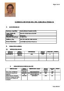 CURRICULUM VITAE DEL ING. CARLOS A. PERALTA