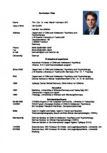 Curriculum Vitae. Department of Child and Adolescent Psychiatry and Psychotherapy