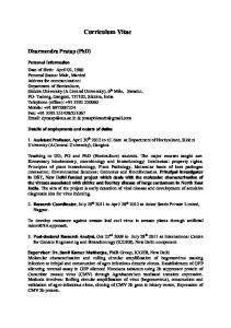 Curriculum Vitae. Dharmendra Pratap (PhD)