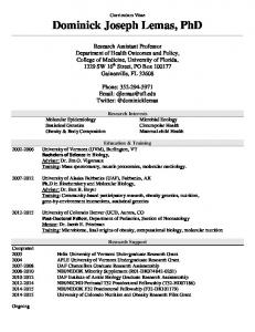 Curriculum Vitae Dominick Joseph Lemas, PhD
