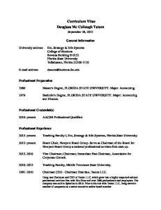 Curriculum Vitae Douglass Mc Cullough Tatum