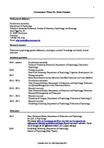 Curriculum Vitae Dr. Anke Heyder