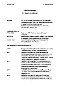 Curriculum Vitae Dr. Claudia Jarzebowski