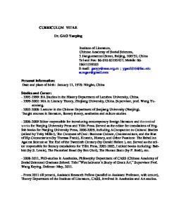 CURRICULUM VITAE. Dr. GAO Yanping