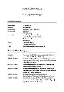 CURRICULUM VITAE. Dr. Georg Wenzelburger